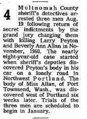 August 19 1968 Portland Oregon Authorities Arrest 3 for Edwards murder