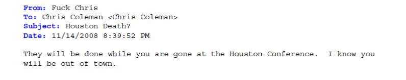 Coleman Threat 2 November 12 2008