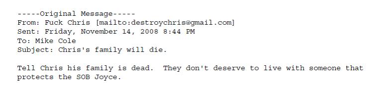 Coleman Threat November 14 2008