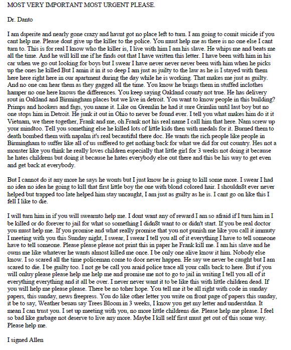 Eds Oakland County Child Murder Letter September 22, 1977