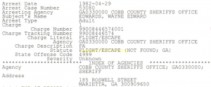 Edwards NCIC record showing arrest in Atlanta April 1982. Released June 1986