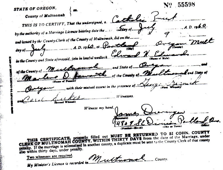 Edwards and Marlene July 9 1960 Marriage Certificate