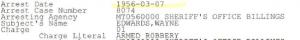 Edwards arrest in Billings March 7th 1956