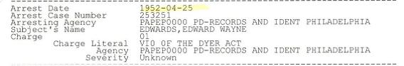 Edwars arrested 4-25-1952