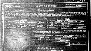 James Langley and Jeneatte White Wedding Certificate