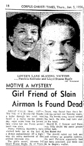 January 2 1956 Lovers Lane Murder Great Falls