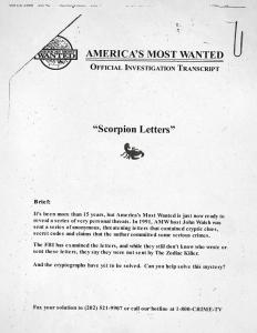 John Walsh Zodiac Killer Letter