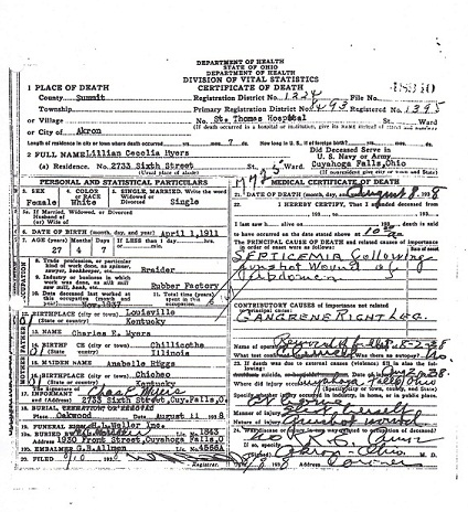 Lillian Myers Death Certificate