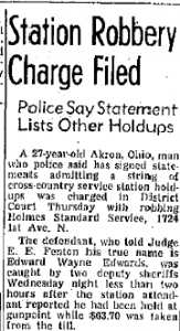 March 9 1956 Billings Gazzette Edwards Admits Robberies in Oakland Sacremento Reno