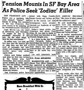 Zodiac Terror October 17 1969